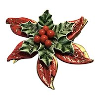 Christmas Poinsettia Brooch Miraculous Medal