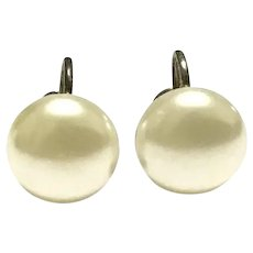 Gold Tone Faux Pearl Screw Back Earrings