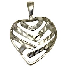 14K White Gold Cut Work Puffy Heart Pendant