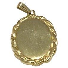 Gold Tone Oval Pendant