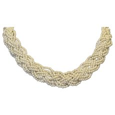 Braided Multi Strand Faux Pearl Necklace
