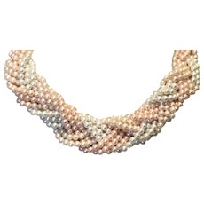 Braided Multi Strand Faux Pearl Necklace Pink & White