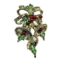 Christmas Enameled Double Bell Brooch