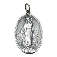 Sterling Silver Miraculous Mary Pendant