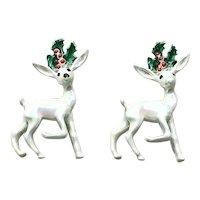 Pair Enameled Reindeer Pins