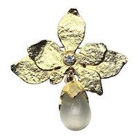 Matte Gold Tone Rhinestone Faux Crystal Brooch