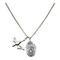 Sterling Silver Miraculous Medal Heart Of Jesus Dove Of Peace Pendant Necklace