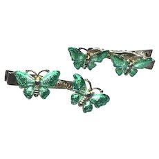 Silver Tone Sparkling Enameled Butterfly Hair Clips