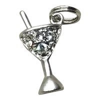 Sterling Silver Rhinestone Martini Glass Charm