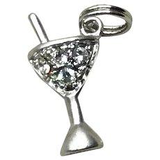 Sterling Silver Rhinestone Martini Glass Charm