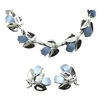 Silver Tone Blue Lucite Necklace & Earring Set