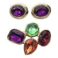 Gold Tone Large Rhinestone Brooch & Earrings