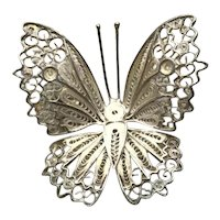 Sterling Silver Portuguese Filigree Butterfly Brooch