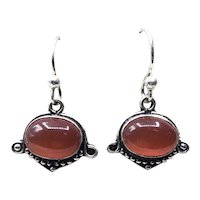 Sterling Silver Red Cats Eye Dangle Earrings NOS