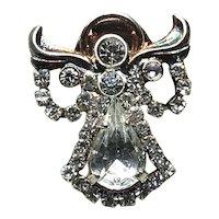 Silver & Gold Tone Rhinestone Angel Lapel Pin NOS