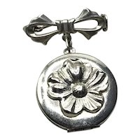 Sterling Double Photo Locket Pendant Brooch