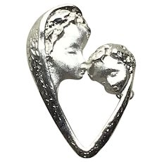 Sterling Silver Mother & Child Brooch Pendant