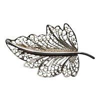 Sterling Silver FAS Filigree Leaf Brooch