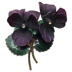 Gold Tone Lucite Enameled Rhinestone Pansy Floral Brooch
