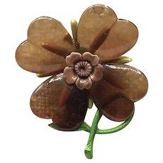 Lucite Enameled Floral Brooch
