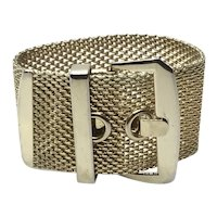 Gold Tone Wide Mesh Bracelet