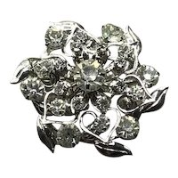 Silver Tone Clear Crystal Brooch