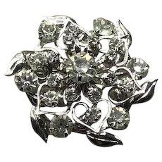 Silver Tone Clear Crystal Brooch