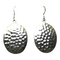 Sterling Silver Hammered Dangle Pierced Earrings