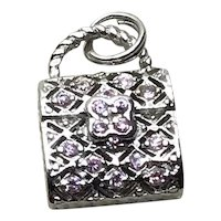 Sterling Rhinestone Purse Charm