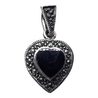 Sterling Silver Black Onyx Marcasite Heart Pendant