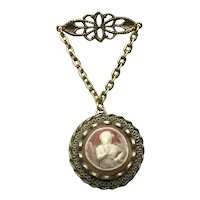 Gold Tone Faux Cameo Locket Double Photo Pendant Brooch