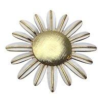 Avon Gold & White Enameled Daisy Brooch