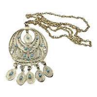Gold Tone FAux Turquoise Pendant Necklace