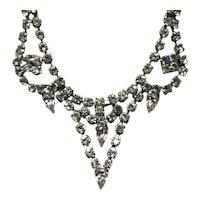 Silver Tone Clear Sparkling Rhinestone Necklace