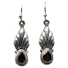 Sterling Silver Garnet Dangle Earrings NOS