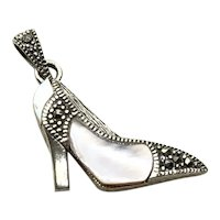 Sterling Silver Marcasite MOP High Heel Shoe Pendant