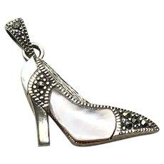 Sterling Silver Marcasite MOP High Heel Shoe Pendant