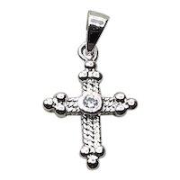 Sterling Silver Rhinestone Cross Pendant