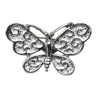 Gerry's Silver Tone Butterfly Brooch