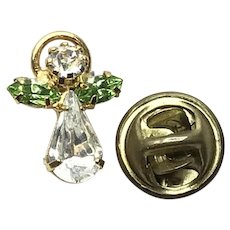 Gold Tone Rhinestone Angel Lapel Pin