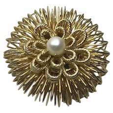 Gold Tone Openwork Faux Pearl Brooch