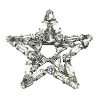 Silver Tone Rhinestone Brooch