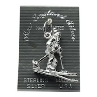 Sterling Silver NOS Down Hill Snow Skier Charm
