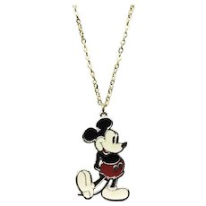 Gold Tone Enameled NOS Walt Disney Productions Mickey Mouse Pendant Necklace