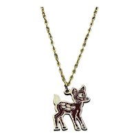 Gold Tone NOS Enameled Walt Disney Productions Bambi Pendant Necklace