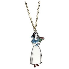 Gold Tone NOS Enameled Walt Disney Productions Snow White Pendant Necklace