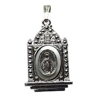 Sterling Silver Marcasite Virgin Mary Metal Pendant