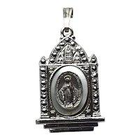 Sterling Silver Marcasite Virgin Mary Metal Pendant