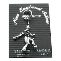Sterling Silver NOS Male Bowler Charm