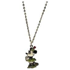 Gold Tone Enameled NOS Walt Disney Productions Minnie Mouse Pendant Necklace